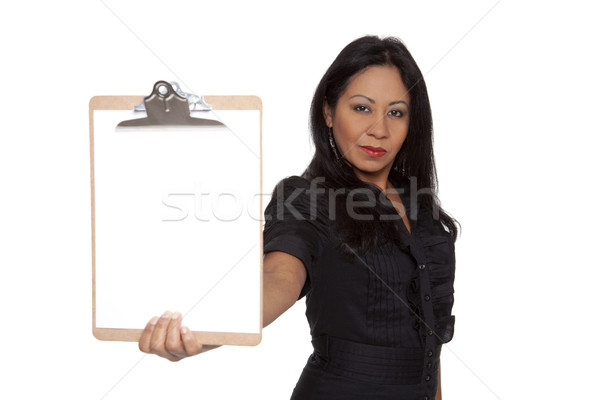 Businesswoman - Latina presenting clipboard Stock photo © dgilder
