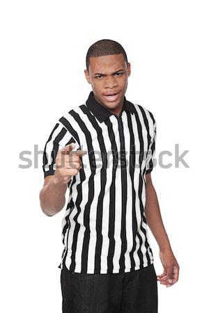 árbitro africano americano homem uniforme isolado Foto stock © dgilder