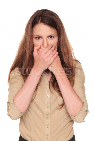 Empresária falar não lol pose isolado Foto stock © dgilder
