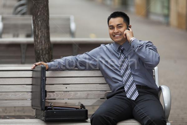 Hispânico empresário falante celular estoque foto Foto stock © dgilder