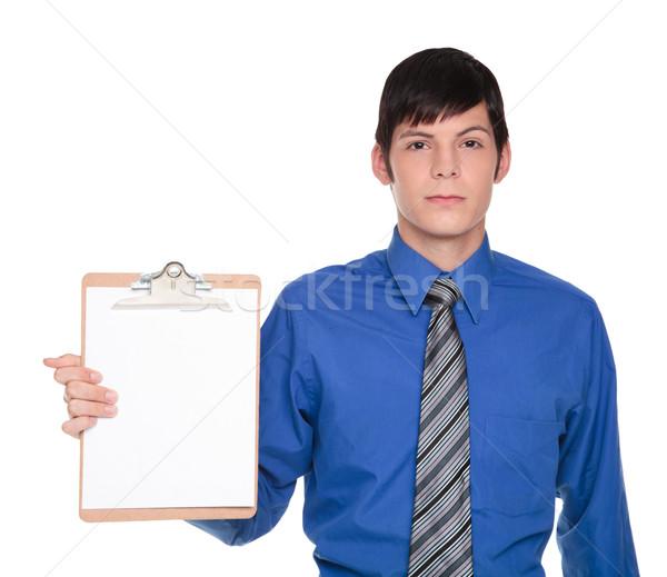 Clipboard apresentação caucasiano empresário isolado Foto stock © dgilder