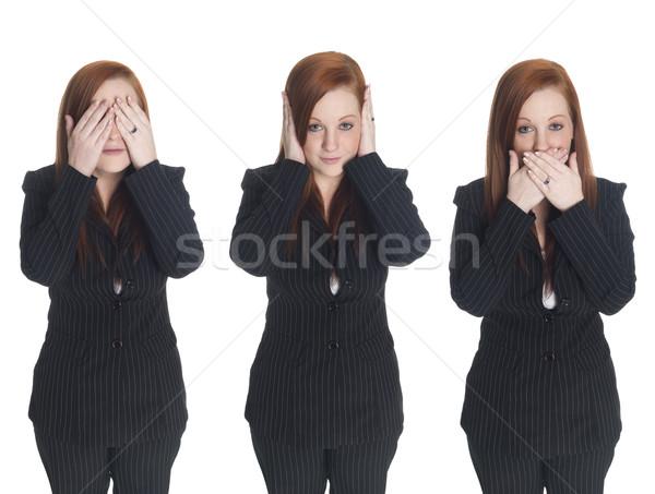 Stock fotó: üzletasszony · nem · gonosz · izolált · stúdió · lát