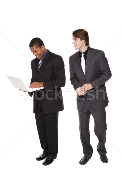 businesspeople - happy laptop team Stock photo © dgilder