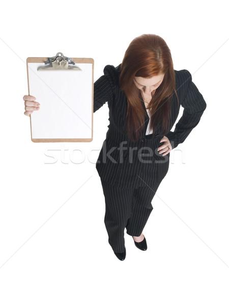 Stock fotó: üzletasszony · izolált · stúdiófelvétel · lefelé · néz