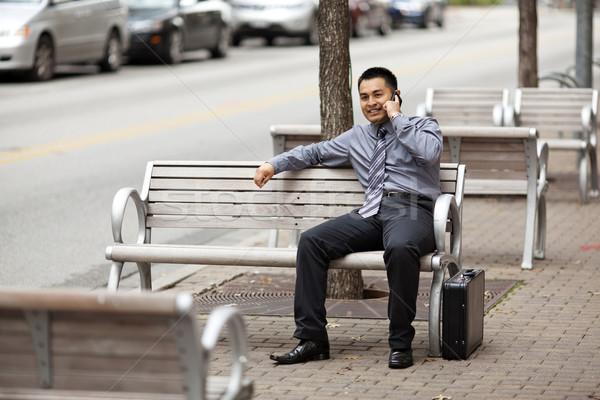 Spanyol üzletember beszélget mobiltelefon stock fotó Stock fotó © dgilder