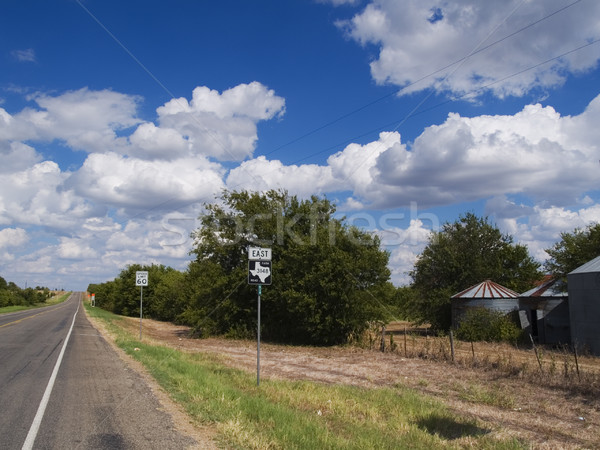 Texas farm út stock fotó autópálya tábla Stock fotó © dgilder