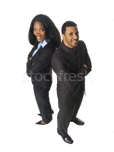 businesspeople - happy back to back Stock photo © dgilder