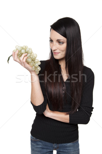 Produce - fruit woman with green grapes Stock photo © dgilder