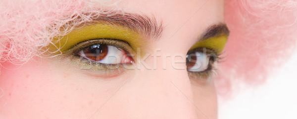 Maquillaje de ojos primer plano ojos marrones rosa peluca verde Foto stock © dgilder
