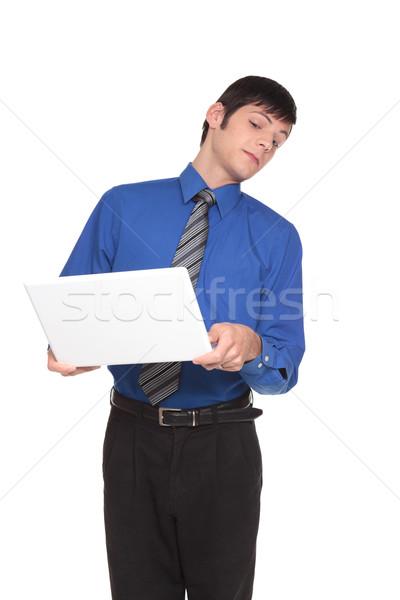 Expressões caucasiano empresário longe tela isolado Foto stock © dgilder