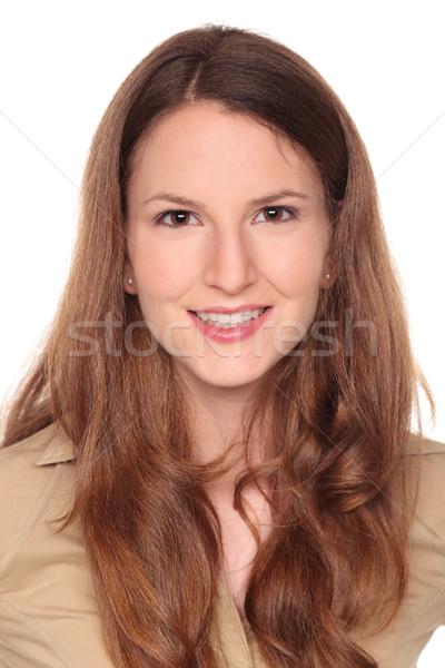 Сток-фото: деловая · женщина · довольно · улыбка · изолированный · кавказский