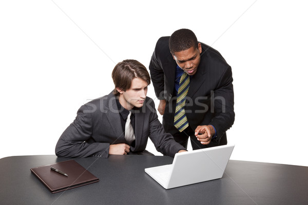 businesspeople - conference laptop Stock photo © dgilder