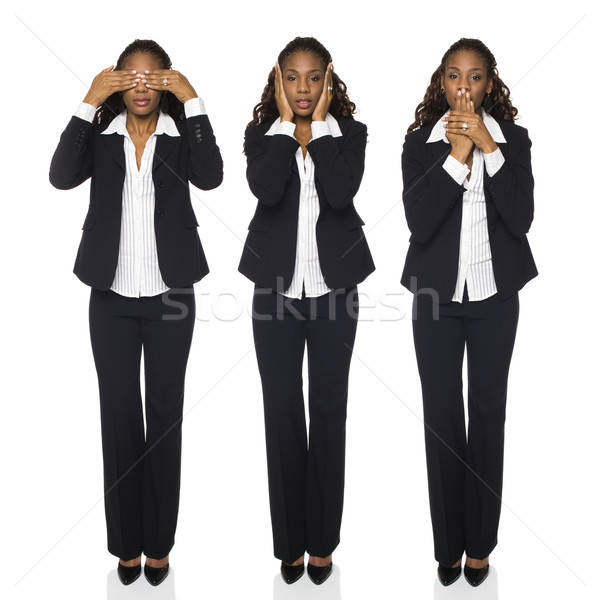 Stock photo: Businesswoman - See No Evil, Hear No Evil, Speak No Evil