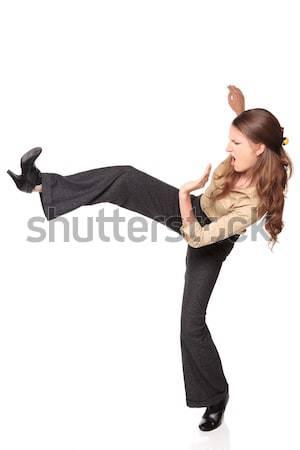 Empresária alto chutá vista lateral isolado Foto stock © dgilder