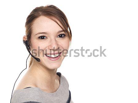 Toevallig vrouw receptionist geïsoleerd Stockfoto © dgilder