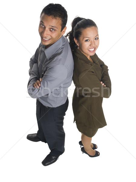 üzletemberek hát izolált magasról fotózva stúdiófelvétel üzletember Stock fotó © dgilder