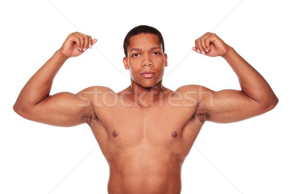 Izmos férfi bicepsz izolált stúdiófelvétel Stock fotó © dgilder