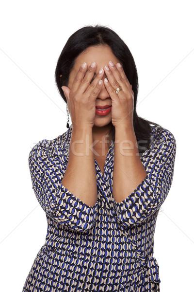 Lezser rejtőzködik arc izolált stúdiófelvétel nő Stock fotó © dgilder