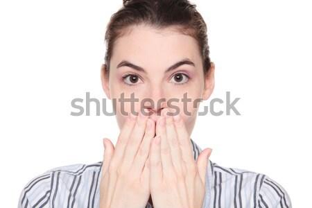 Meglepődött kaukázusi nő befogja száját izolált stúdiófelvétel Stock fotó © dgilder