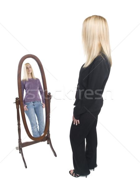 деловая женщина случайный зеркало изолированный Сток-фото © dgilder
