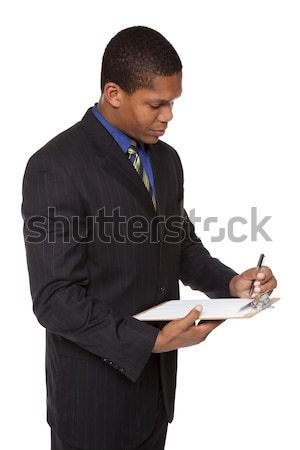 businessman - clipboard questionnaire Stock photo © dgilder