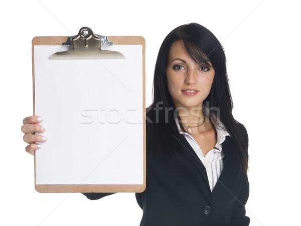 Empresária clipboard isolado pronto Foto stock © dgilder