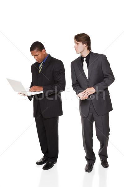 üzletemberek vállalati kémkedés izolált stúdiófelvétel üzletemberek Stock fotó © dgilder