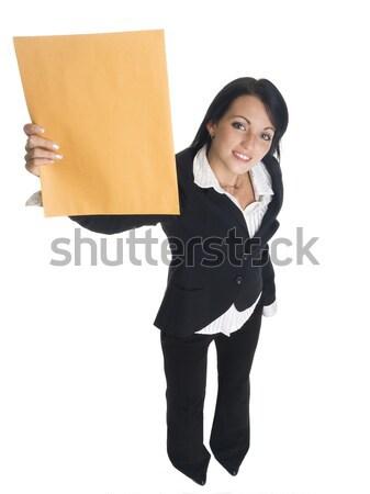 üzletasszony posta izolált stúdiófelvétel boldogan magasra tart Stock fotó © dgilder