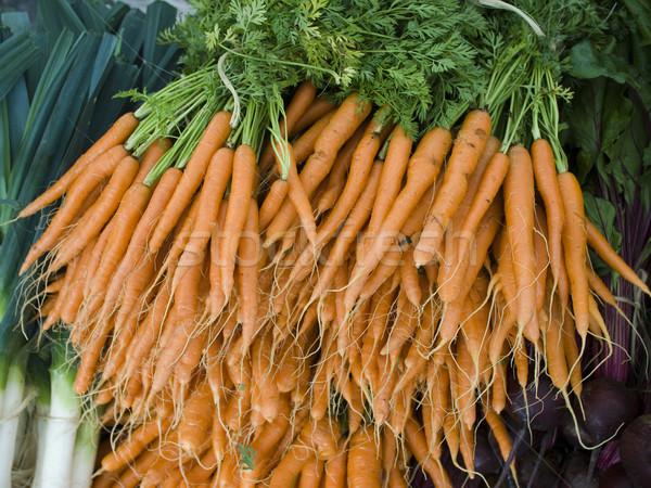 Stockfoto: Produceren · organisch · wortelen · display · boeren · markt