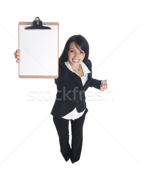 Empresária clipboard isolado Foto stock © dgilder
