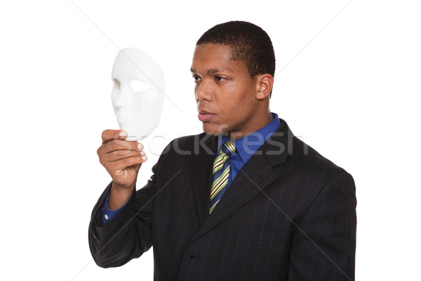 businessman - costume mask Stock photo © dgilder