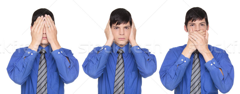 See No Evil poses - Caucasian businessman covering eyes ears and Stock photo © dgilder