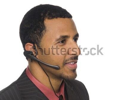 Сток-фото: бизнесмен · телефон · оператор · афроамериканец