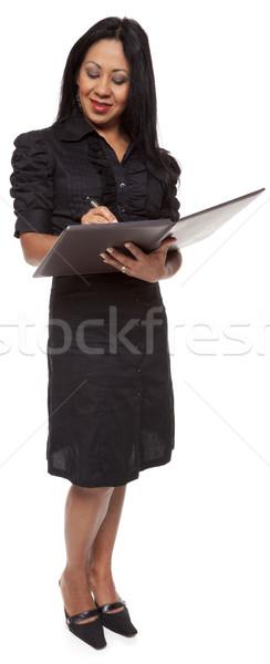 деловая женщина Дать блокнот изолированный Сток-фото © dgilder