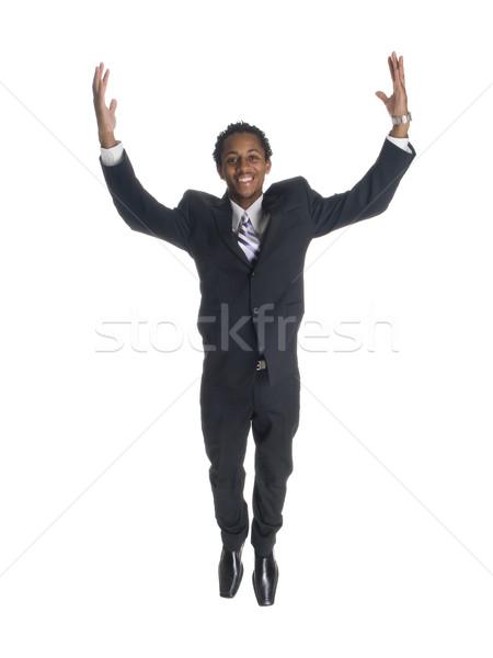 Empresário saltar alegria isolado saltando Foto stock © dgilder
