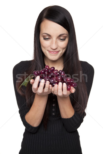Produce - fruit woman with grapes Stock photo © dgilder