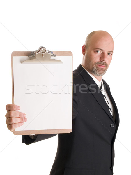 fashion - men - businessman holding clipboard Stock photo © dgilder