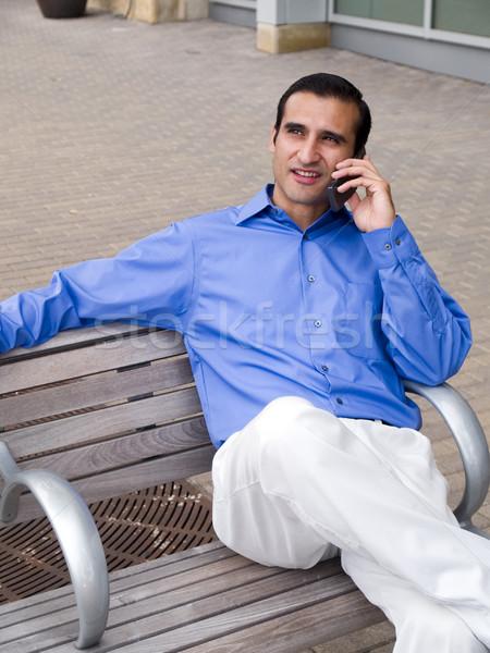 Сток-фото: улыбаясь · Hispanic · бизнесмен · говорить · телефон · красивый