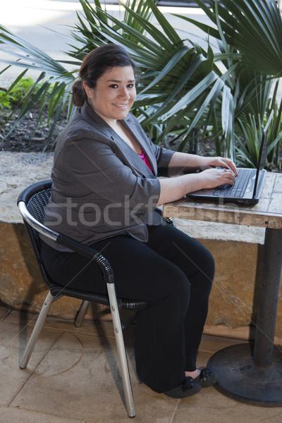 üzletasszony otthoni munka internet kávézó stock fotó Stock fotó © dgilder
