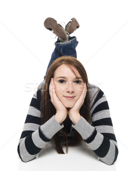 young woman - laying and looking Stock photo © dgilder