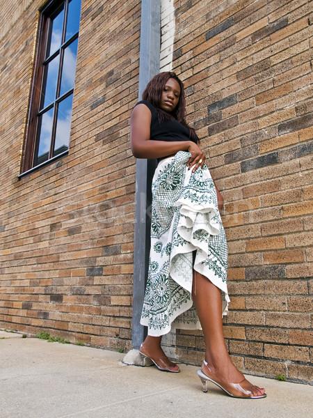 модный кирпичная стена женщину моде Сток-фото © dgilder