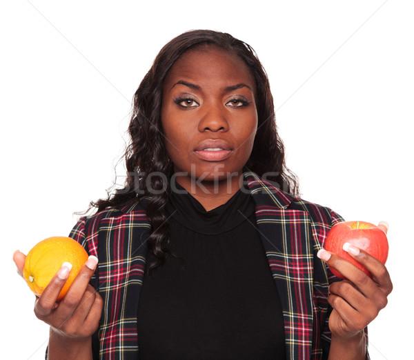 ストックフォト: リンゴ · オレンジ · アフリカ系アメリカ人 · 女性実業家 · 孤立した