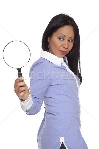 деловая женщина увеличительное стекло изолированный глядя Сток-фото © dgilder