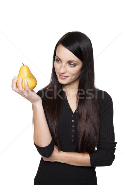 Stock photo: Produce - fruit woman with pear