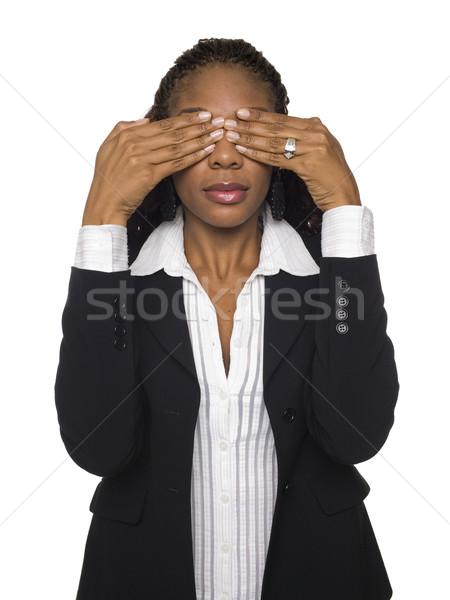 Femme d'affaires voir pas mal isolé Photo stock © dgilder