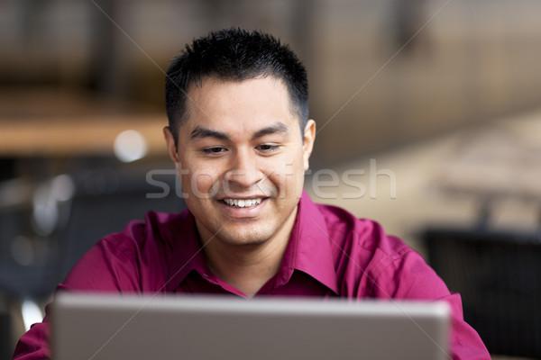 Hispânico empresário trabalhar em casa internet café estoque Foto stock © dgilder