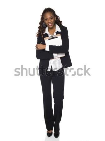 Femme d'affaires presse-papiers stock photo souriant Photo stock © dgilder