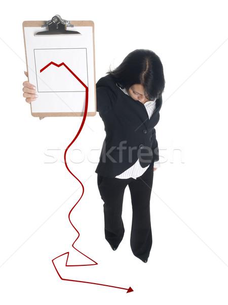 Сток-фото: деловая · женщина · буфер · обмена · изолированный · графа
