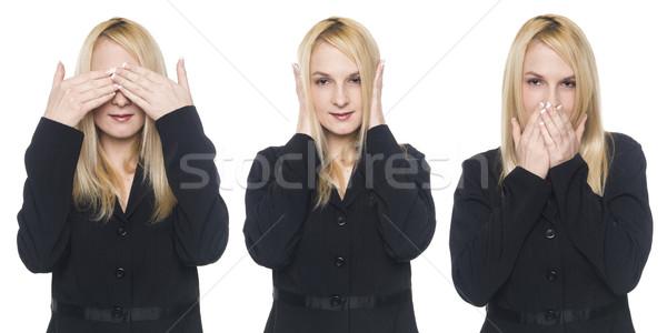 businesswoman - speak no evil Stock photo © dgilder