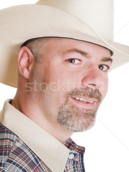 Erkekler kovboy yalıtılmış adam kovboy şapkası Stok fotoğraf © dgilder